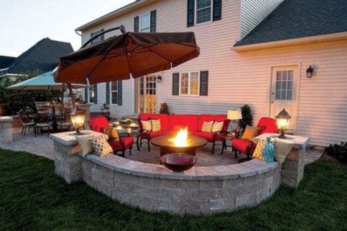 Stunning outdoor stone fireplaces design ideas 13