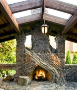 Stunning outdoor stone fireplaces design ideas 30