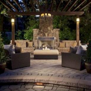 Stunning outdoor stone fireplaces design ideas 33