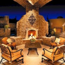 Stunning outdoor stone fireplaces design ideas 36