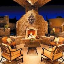 Stunning outdoor stone fireplaces design ideas 36