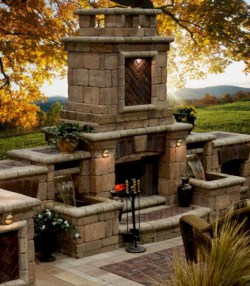 Stunning outdoor stone fireplaces design ideas 48