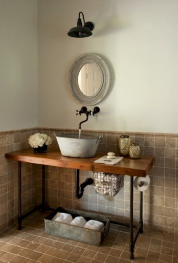 Unique diy bathroom ideas using wood (12)