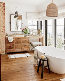 Unique diy bathroom ideas using wood (44)