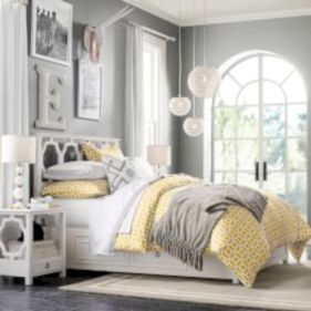 Visually pleasant yellow and grey bedroom designs ideas 16