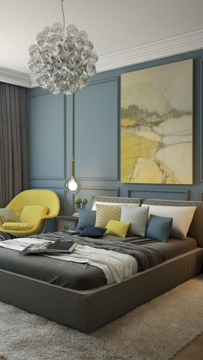Visually pleasant yellow and grey bedroom designs ideas 18