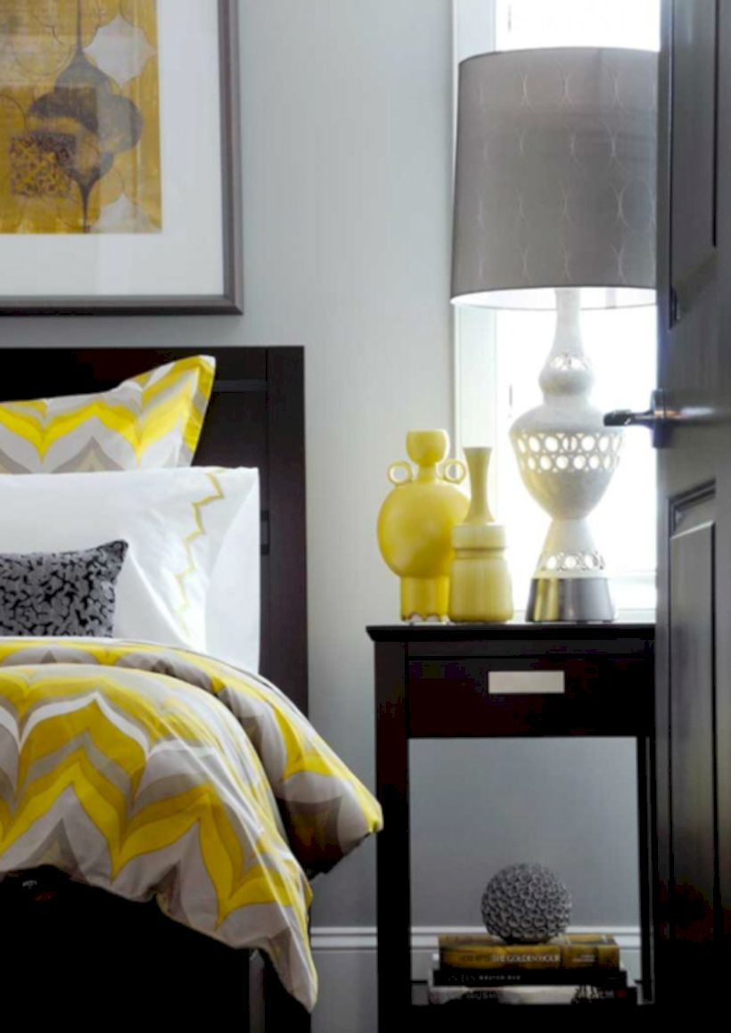 Visually pleasant yellow and grey bedroom designs ideas 19