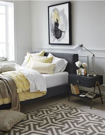 Visually pleasant yellow and grey bedroom designs ideas 23