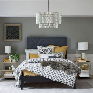 Visually pleasant yellow and grey bedroom designs ideas 40