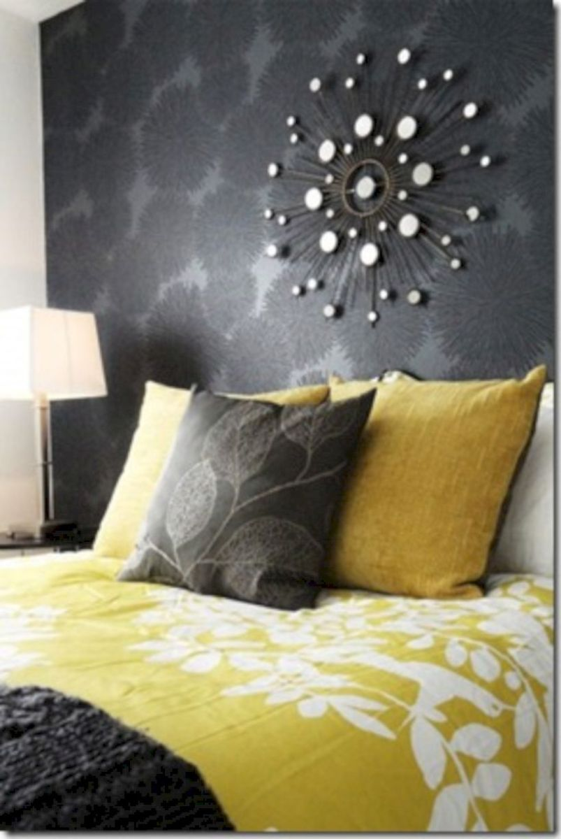 Visually pleasant yellow and grey bedroom designs ideas 42