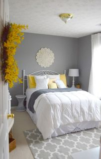 Visually pleasant yellow and grey bedroom designs ideas 43