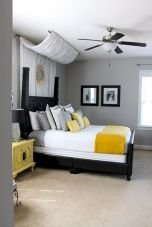 Visually pleasant yellow and grey bedroom designs ideas 47