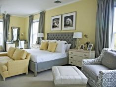 Visually pleasant yellow and grey bedroom designs ideas 56