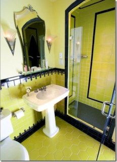 Yellow tile bathroom paint colors ideas (2)