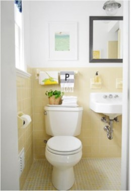 Yellow tile bathroom paint colors ideas (24)