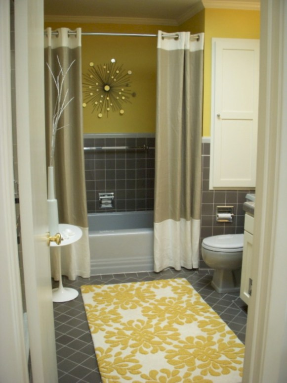 Yellow tile bathroom paint colors ideas (50)