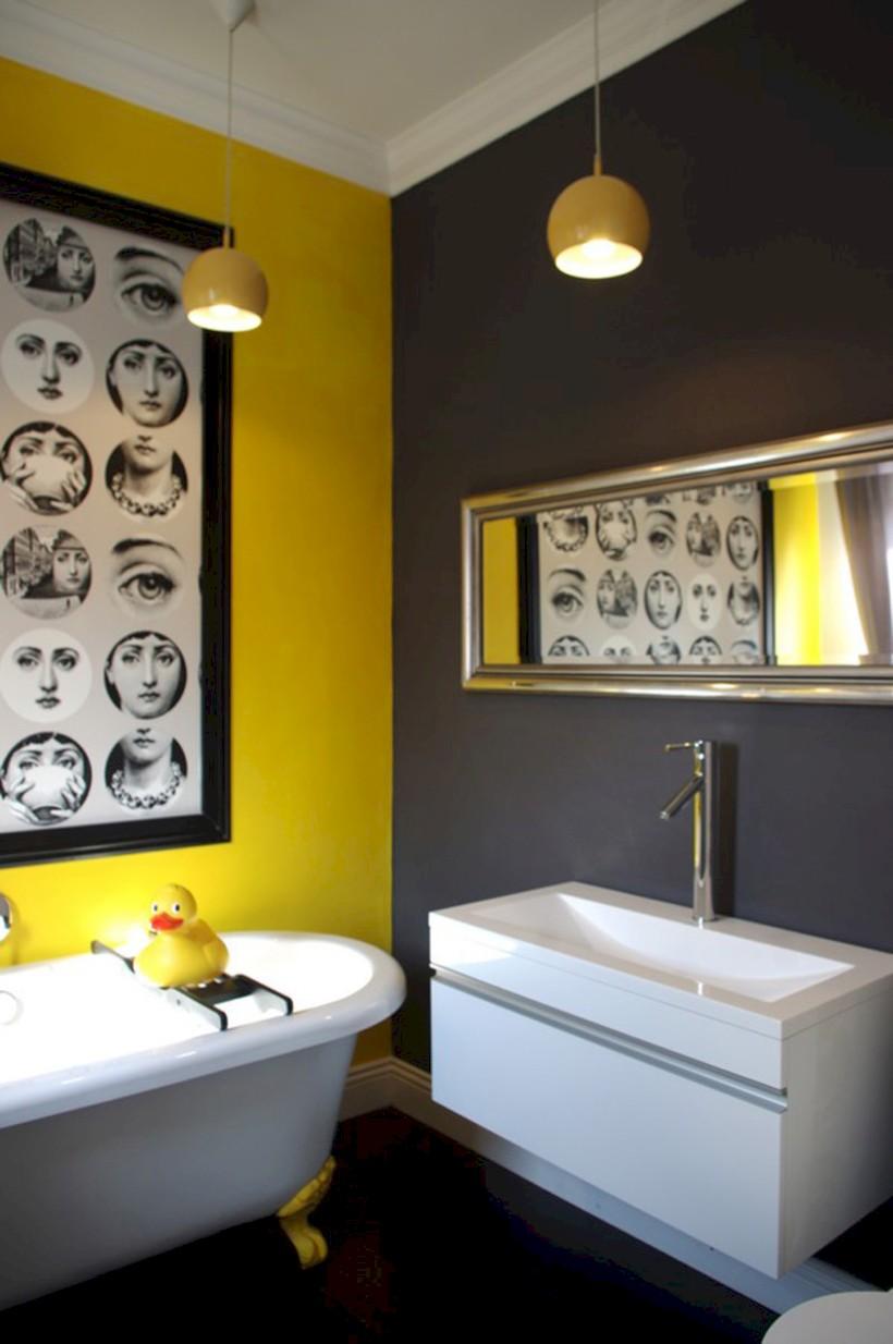 Yellow tile bathroom paint colors ideas (9)