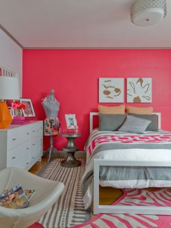 Cool kids bedroom with pink colour 32