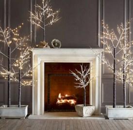 Elegant white fireplace christmas decoration ideas 06