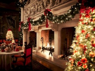 Elegant white fireplace christmas decoration ideas 07