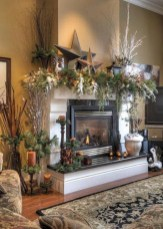 Elegant white fireplace christmas decoration ideas 11