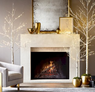 Elegant white fireplace christmas decoration ideas 15
