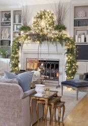 Elegant white fireplace christmas decoration ideas 19