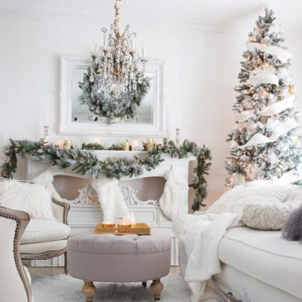 Elegant white fireplace christmas decoration ideas 20
