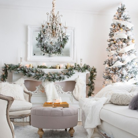 Elegant white fireplace christmas decoration ideas 20