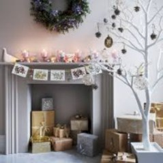 Elegant white fireplace christmas decoration ideas 22