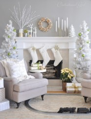 Elegant white fireplace christmas decoration ideas 26