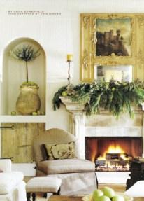 Elegant white fireplace christmas decoration ideas 39