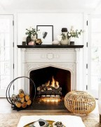 Modern farmhouse fireplace christmas decoration ideas 01