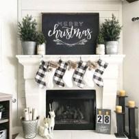 Modern farmhouse fireplace christmas decoration ideas 21