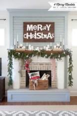 Modern farmhouse fireplace christmas decoration ideas 25