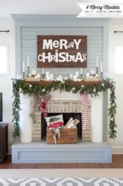 Modern farmhouse fireplace christmas decoration ideas 25