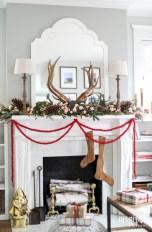 Modern farmhouse fireplace christmas decoration ideas 28