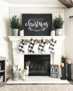 Modern farmhouse fireplace christmas decoration ideas 29