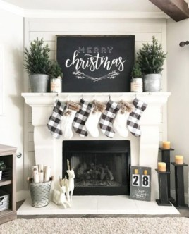 Modern farmhouse fireplace christmas decoration ideas 29