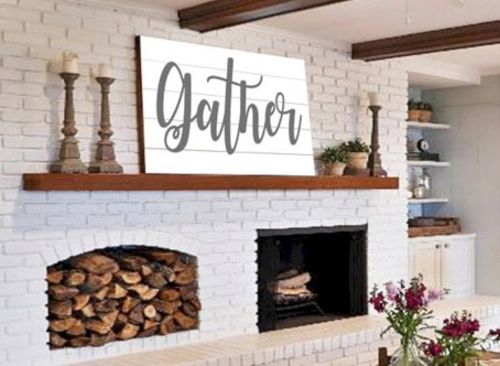 Modern farmhouse fireplace christmas decoration ideas 30