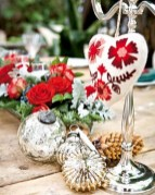 Stylish christmas centerpieces ideas with ornaments 19