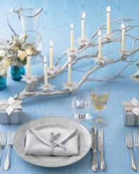 Stylish silver and white christmas table centerpieces ideas 05