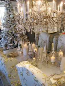 Stylish silver and white christmas table centerpieces ideas 11