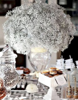 Stylish silver and white christmas table centerpieces ideas 16