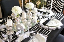 Stylish silver and white christmas table centerpieces ideas 19