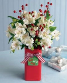 Totally adorable white christmas floral centerpieces ideas 18