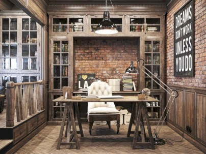 Awesome rustic home office designs ideas 27