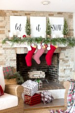 Cool christmas fireplace mantel decoration ideas 04