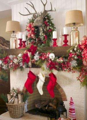 Cool christmas fireplace mantel decoration ideas 33
