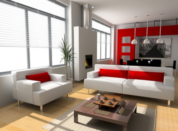Gorgeous red and white living rooms ideas 21